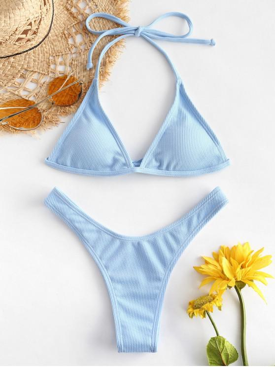 women's ZAFUL Ribbed High Leg Bikini Set - LIGHT BLUE L