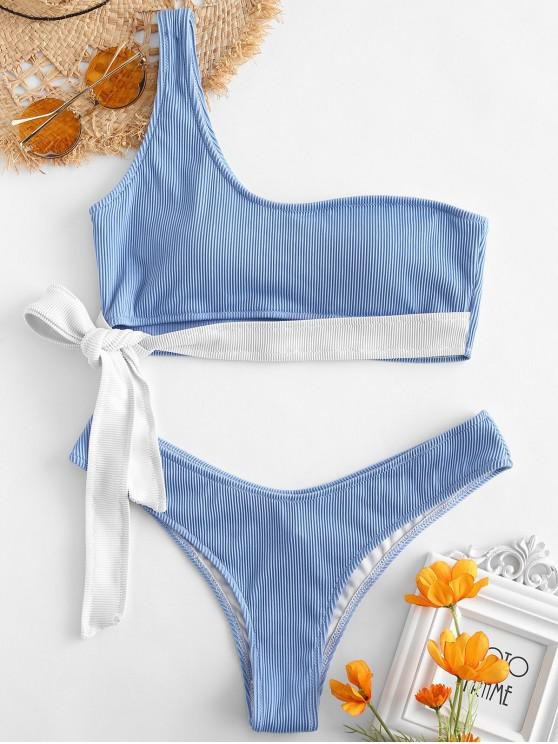 best ZAFUL Ribbed Tie One Shoulder Bikini Set - DAY SKY BLUE M