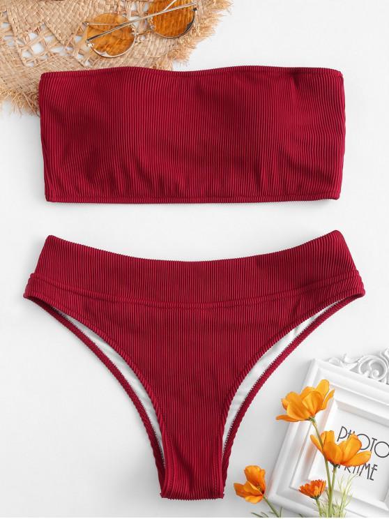Bikini A Fascia A Costine Di ZAFUL - Vino Rosso L