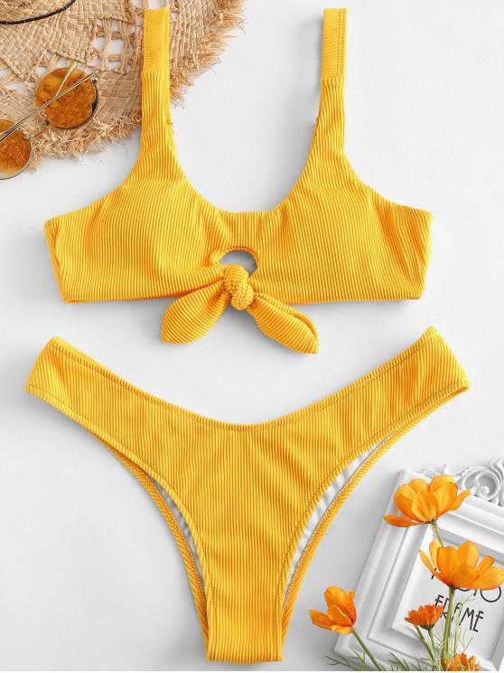 womens ZAFUL Knot Textured Ribbed Bikini Set - SUN YELLOW M