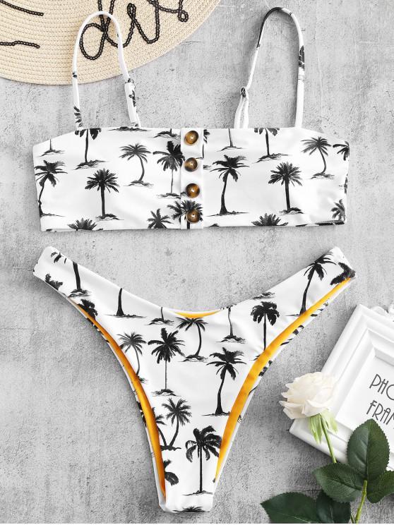 Bikini Stampato A Cocco Palma Con Bottoni Di ZAFUL - Bianco L