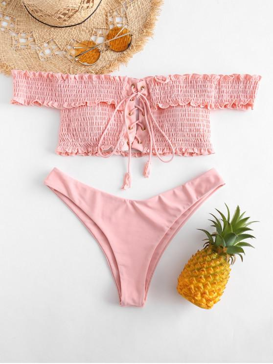 fashion ZAFUL Shirred Lace-up Bardot Bikini Set - PIG PINK S