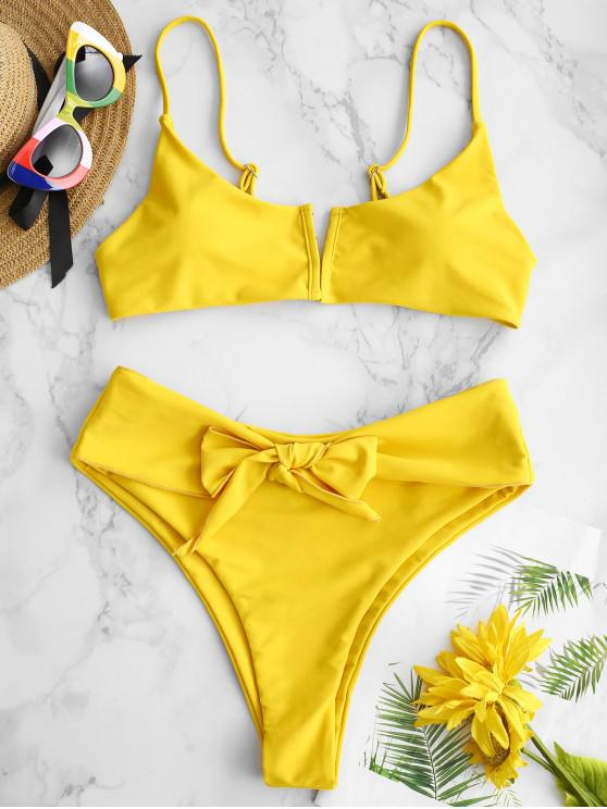 outfits ZAFUL Front Closure Belted Bikini Set - GOLDEN BROWN L