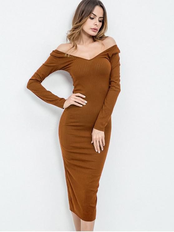 ladies Off Shoulder Long Sleeves Knit Dress - LIGHT BROWN M