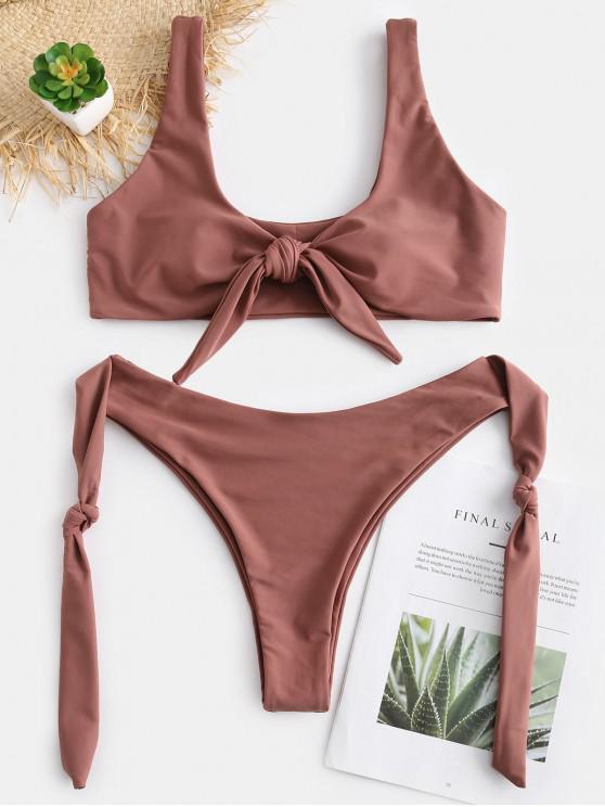 latest ZAFUL Knots High Cut Convertible Bikini Set - SEPIA L