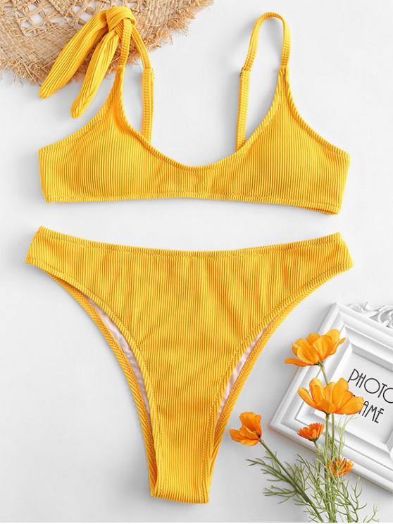 Conjunto de Bikini de Talle Alto Acanalado con Textura - Amarillo de Sol  L