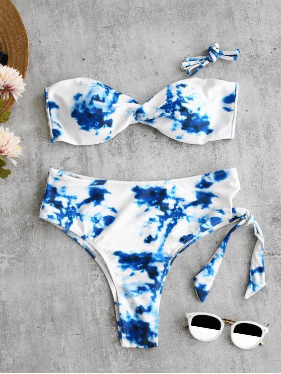 ZAFUL Verdrehtes Krawattenfärben -Schlüsselloch- Bikini- Set - Blaubeere S