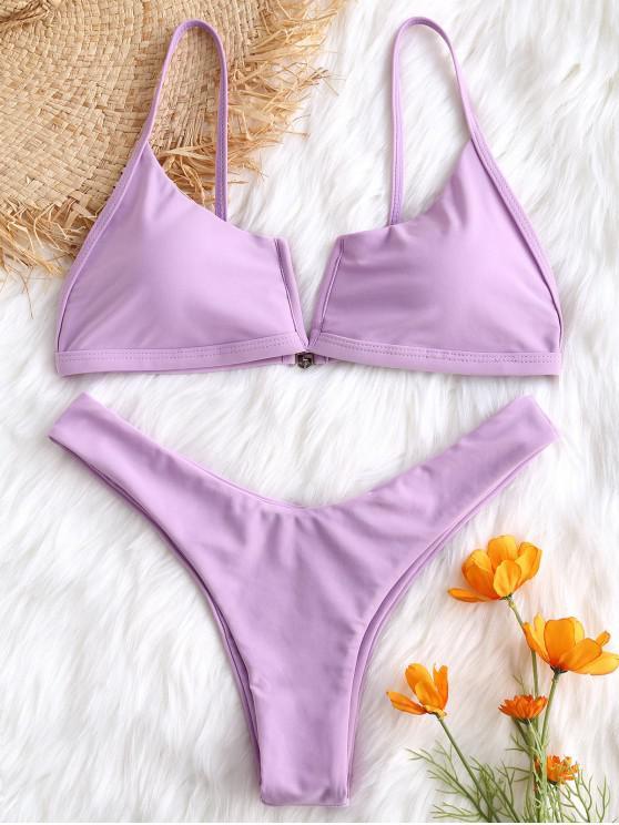 Bikini de Pierna Alta con Cable en V - Púrpura de Wisteria L