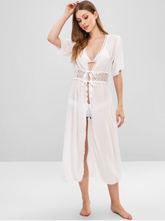 Chiffon Kimono mit Häkelarbeit - Weiß L