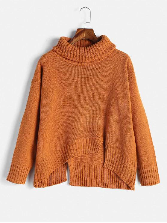 fashion Split Hem Turtleneck Boxy Sweater - DARK ORANGE ONE SIZE