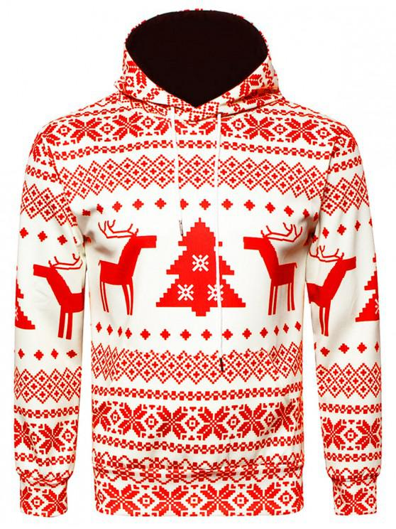 women's Hooded Christmas Snowflake Geometric Print Hoodie - RED 3XL