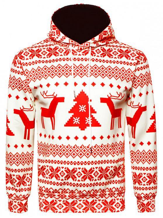 ladies Hooded Christmas Snowflake Geometric Print Hoodie - RED 2XL