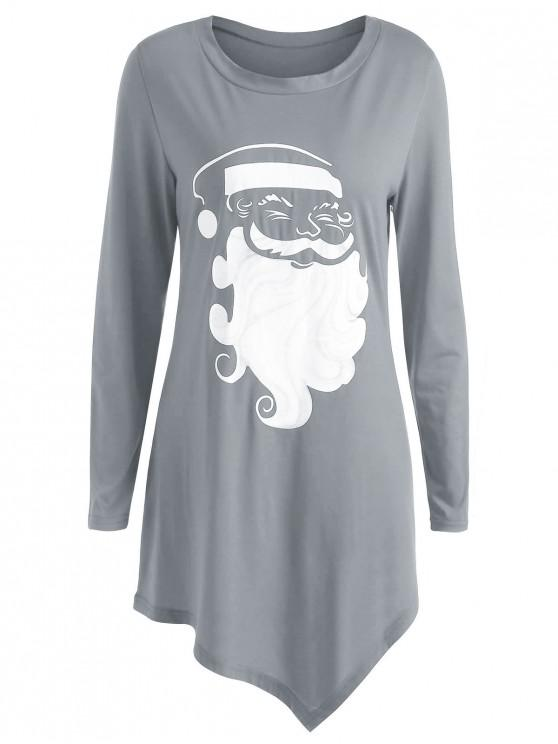 sale Plus Size Long Sleeve Graphic Christmas T-shirt - GRAY L