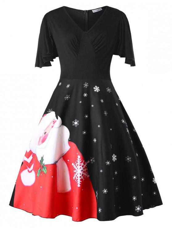 Plus Size Christmas Santa Claus Print Vintage Dress - Negru L