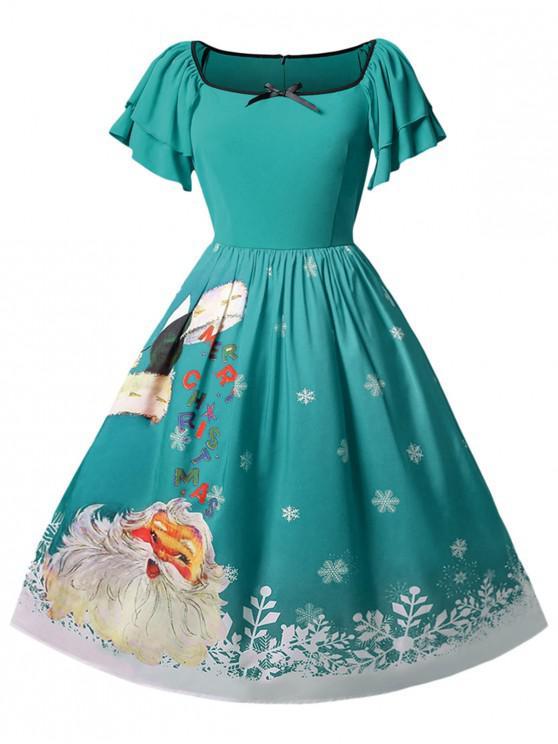 Christmas Plus Size Santa Claus Printed Dress - Dark Turquoise 5X