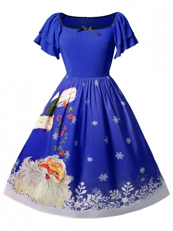 Christmas Plus Size Santa Claus Printed Dress - Albastru de cobalt 1X