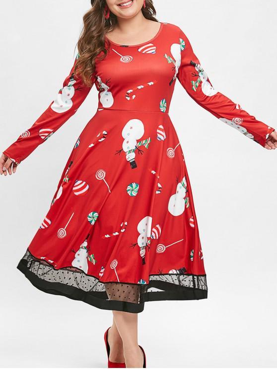 Christmas Plus Size Lollipop Snowman Print Dress - 紅 2X
