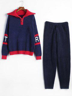Conjunto De Pijamas Con Diseño De Carta Color Block De Media Cremallera - Azul