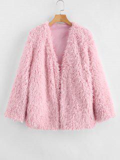 Open Front Fluffy Faux Fur Winter Coat - Pink S