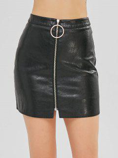 O Ring Zip Faux Leather Skirt With Inner Shorts - Black L
