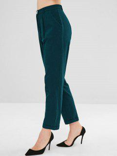 High Waisted Turn Up Cuffs Tapered Pants - Greenish Blue L