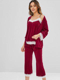 Ensemble De Pyjama à Ourlet En Dentelle En Velours Avec Ceinture - Rouge Vineux Xl
