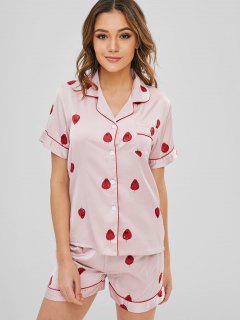 Strawberry Button Up Short Sleeve Pajama Set - Light Pink M
