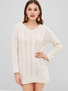 Short V Neck Sweater Knit Dress - Warm White