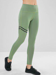High Waisted Stripes Panel Leggings - Dark Sea Green M