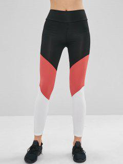 Color Block High Waisted Leggings - Multi M
