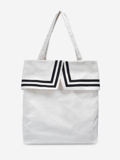 Preppy Style Canvas Student Shoulder Bag - Milk White