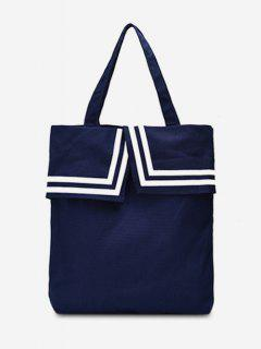 Preppy Style Canvas Student Shoulder Bag - Lapis Blue