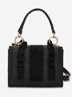 Sueded Flower Side Design Tote Bag - Black