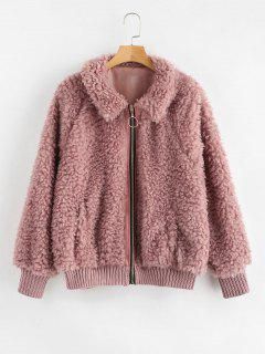 Cozy Zip Up Faux Fur Winter Coat - Lipstick Pink S