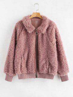Manteau D'hiver En Fausse Fourrure Confortable - Rouge à Lèvres Rose S