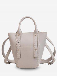 2Pcs PU Bucket Handbag - White