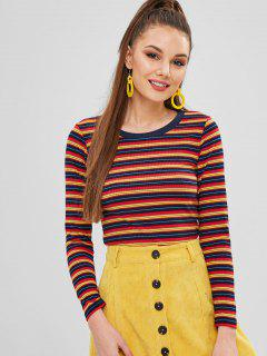 Long Sleeve Striped Ribbed Top - Multi