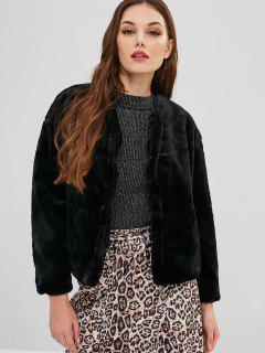 Snap Button Fluffy Faux Fur Coat - Black S