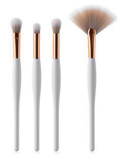 Professional 4 Pcs White Handle Fiber Hair Eyeshadow Fan Brush Suit - White