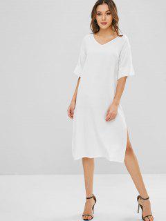 Vestido Recto Informal Con Abertura En El Cuello - Blanco S