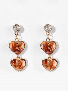 Minimalist Style Heart Design Earrings - Brown