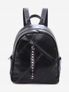Large Capacity Rivet Zipper School Backpack - Black