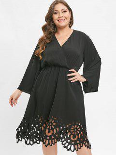 Vestido De Corte Extra Grande Con Corte Láser - Negro 3x