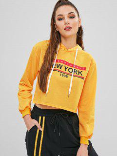 Letter Graphic Drawstring Cropped Hoodie - Bright Yellow S