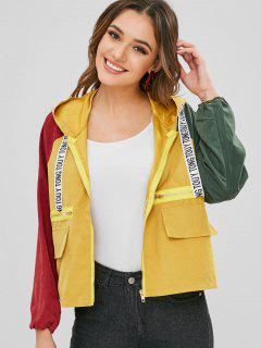 Zipper Embellished Contrast Hooded Jacket - Goldenrod Xl
