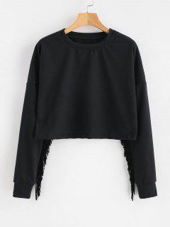 Sweat-shirt Court à Franges - Noir L