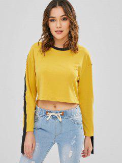 Cremallera Adornada Alta Baja Camiseta - Amarillo Brillante L