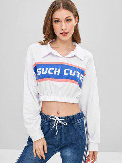 Crop Letter Print Pullover Sweatshirt - White L