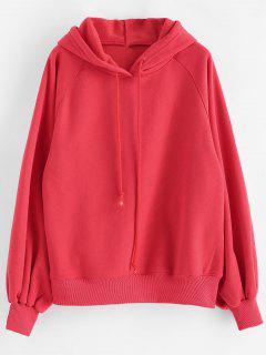 Lantern Sleeves Plain Drawstring Hoodie - Red L