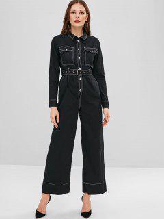 ZAFUL Buttoned Belted Wide Leg Jumpsuit - Black L